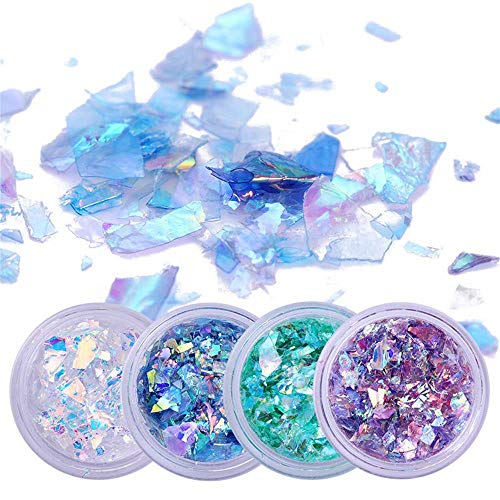 Holographic Mermaid Nail Sequins Chunky Glitter,Fluorescent Glass Paper, Ultra-Thin Iridescent Flakes Glitters Sticker, Face Eyes Body Hair Nail Art Paillette Decor(4 boxs)