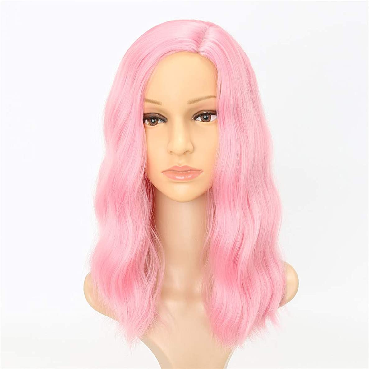 ファイアル端末タイプヘアピースピンクウィッグ波状女性かつら高温繊維人工毛ウィッグロングコスプレウィッグ用女性パーティー、ハロウィン18インチ