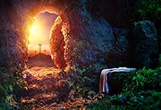 Laeacco 10x6.5ft Vinyl Photography Backdrop Cross Crucifixion Sunrise Empty Tomb with Shroud Jesus Christ Holy-Light Stone Hole Landscape Cross Tumb Light Stone Dreamy Forest