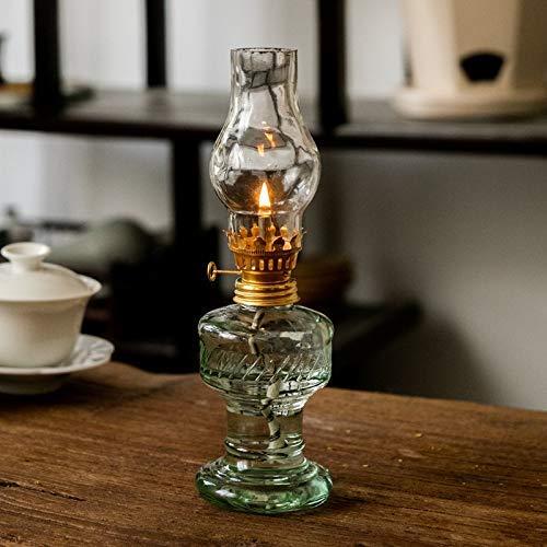 Lámpara de Queroseno, Lámpara de Huracán de Nostalgia Retro, Lámpara de Vidrio Artesanal Simple Luz de Emergencia para Decoración de Iluminación del Hogar (20 CM)