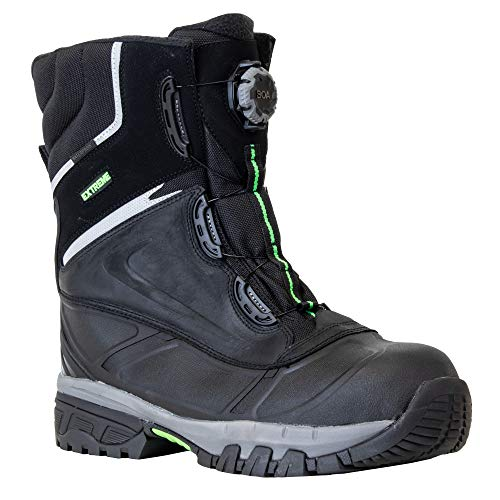 RefrigiWear Mens Waterproof Anti-Slip Extreme Pac Boots with Boa Fit System For Lacing (Black, Size 9 US)
