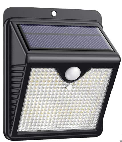 【1 Paquete】Luz Solar Exterior 150 LED, Trswyop Foco Solar Exterior con 120 ° Gran Angular Sensor de Movimiento Lámpara Solar Inalámbricas Impermeable Para Jardín, Garaje [ Clase Energética A++