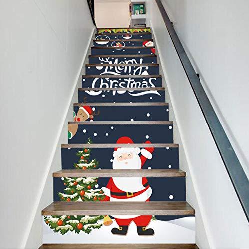 Pegatinas de escaleras Navidad Papá Noel Árbol Escalera Etiqueta Para Sala de estar Corredor de Vinilo Impermeable DIY Adhesivo Escalera Decoración 13 unids: Amazon.es: Bricolaje y herramientas