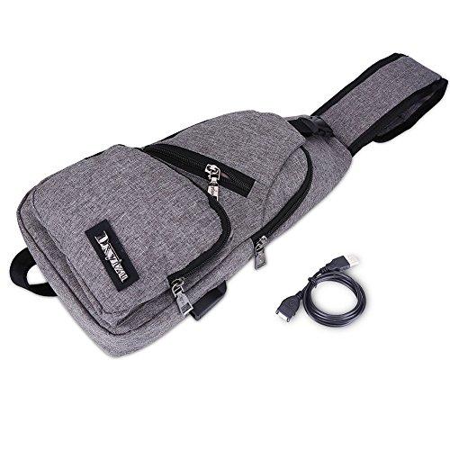 Mens Canvas kist tas Messenger USB opladen tassen Crossbody enkele schouder multifunctionele unisex reizen vintage polyester rugzak Grijs
