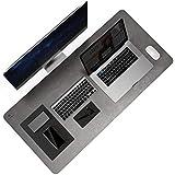 YSAGi Schreibtischunterlage Hochwertig PU-Leder,90 x 43 cm Multifunktionale Schreibtischmatte, Mauspad, Rutschfest,Weich ,Wasserdichter Schreibtisch-Schreibblock für Büro und Zuhause(Grau)