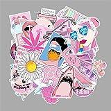 YANJ Pegatinas de moda rosa claro señoras niñas PVC Graffiti pegatinas juguetes decoración para coche portátil almohadilla teléfono tronco guitarra bicicleta motor 103 piezas/lote