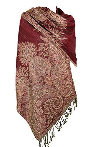 Achillea Luxurious Big Paisley Jacquard Layered Woven Pashmina Shawl Wrap Scarf Stole (Burgundy)