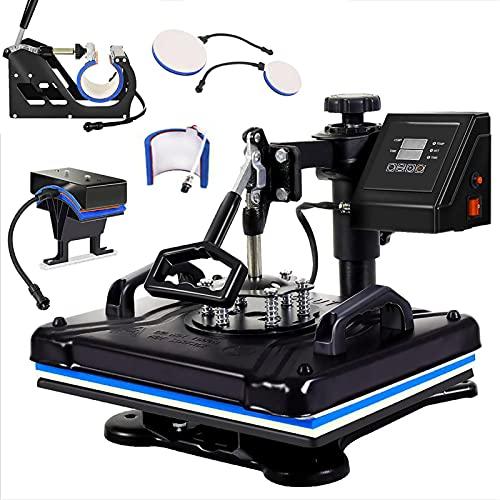 6 In 1 30x 38cm Heat Press Machine 5 In 1 T-shirt Printing Machine Combination Mug T-shirt Hat Printing Machine Sublimation Multifunctional Custom Machine-Black 220v