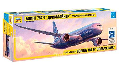 "Zvezda 7021 - Civil Airliner Boeing 787-9 Dreamliner - Plastic Model Kit Scale 1/144 82 Parts Lenght 17"""