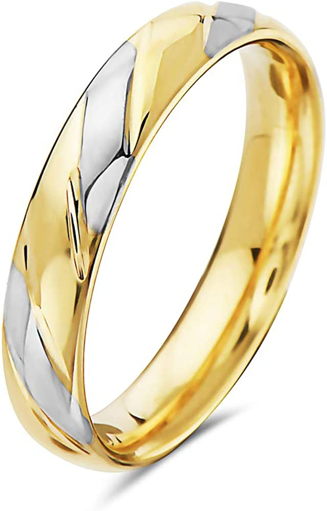 14K Solid Gold 4MM Wedding Band Rings- Available in Yellow, White or Two Tone Gold