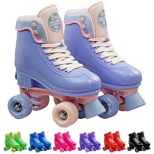 Infinity Skates Adjustable Roller Skates for Girls and Boys - Soda Pop Series (Light Purple/Small)
