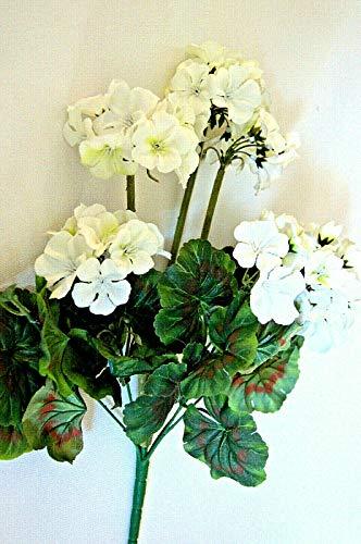 tatjana-land-deko Geranio – Planta artificial de geranio, decoración J1 (J1 blanco, 46 cm)