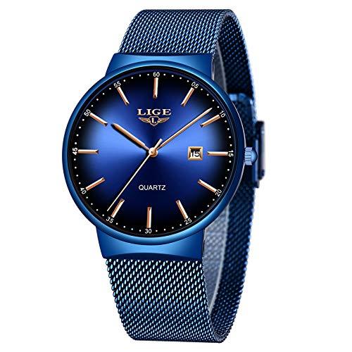 LIGE Relojes para Hombre Cuarzo Analógico Ultra Delgado Minimalista Moda Simple Negro Impermeable de Acero Inoxidable Reloj de Pulsera