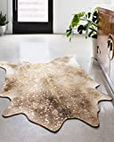 """LOLOI ll Odessa Collection Printed Faux Cowhide Area Rug, 3'-10"""" x 5', Mocha/Sand"""