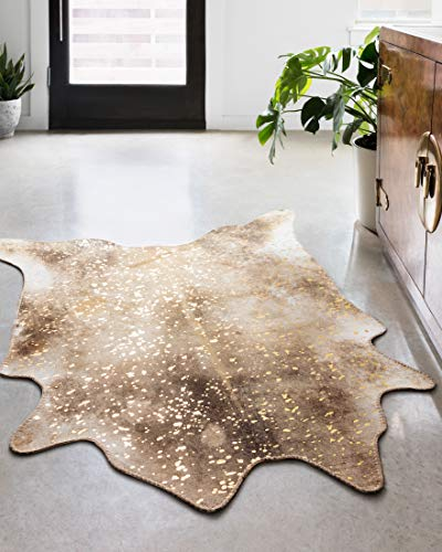 Loloi ll Odessa Collection Printed Faux Cowhide Area Rug, 3'-10' x 5', Mocha/Sand