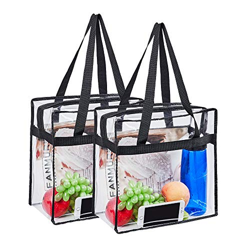 2 Pack Clear Tote Bag,Stadium Approved Security Clear Bag 12'×12'×6',Sturdy PVC Construction Zippered Top, Perfect for Work, School, Sports Games and Concerts