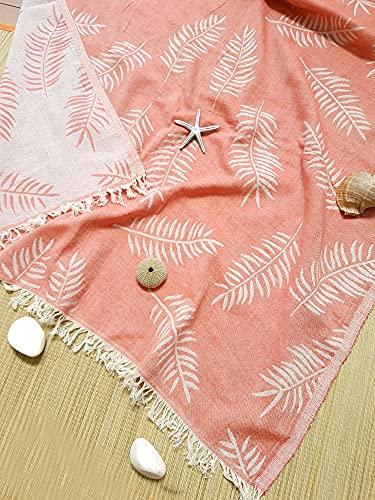 Belleliving Hochwertiges Hamamtuch,Saunatuch, Strandtuch, Fitness/Yoga/Strand/Spa, 100% Baumwolle,schnelltrocknend (Koralle, 1)
