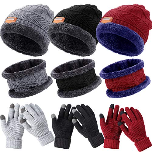 9 Pieces Winter Knit Beanie Hat Neck Warmer Touchscreen Gloves Set Fleece Lined Knitted Caps Circle Loop Scarf Knitted Gloves for Men Women