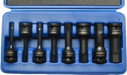 Kunzer 7SSH08 Schlagschraubereinsätze aus Spezial CRMO- Stahl für Innensechskant, 8-Teilig im Koffer, 1/2 Zoll