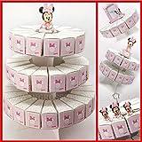 Torta di bomboniere con alzatina e fette portaconfetti in cartoncino rosa con Minnie, firmate Disney, confettate fai da te nascita compleanno femmina (1 Piano - 17 Fette - con confetti rossi)