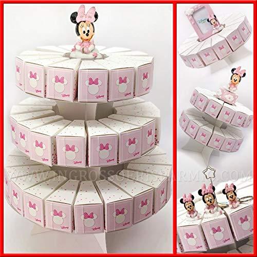Torta di bomboniere con alzatina e fette portaconfetti in cartoncino rosa con Minnie, firmate Disney, confettate fai da te nascita compleanno femmina (1 Piano - 17 Fette - senza confetti)