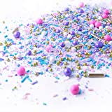 Unicorn Sprinkles Mix| Pastel Pink Purple Blue White Gold Dragees Ladies Colorful Candy Sprinkles Baking Edible Cake Decorations Cupcake Toppers Cookie Decorating Ice Cream Toppings, 2OZ(sample size)