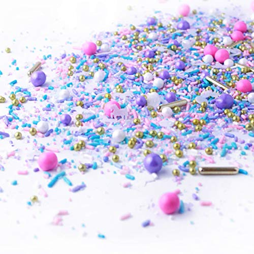 Unicorn Sprinkle Mix | Pastel | Pink Purple and Blue | Silver | Gold | White Unicorn Ladies Sprinkles, 2OZ (sample size)