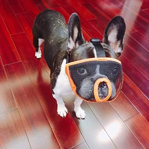 Gulunmun Anti Bark Bite Chew Pug Maulkörbe aus französischer Bulldogge Atmungsaktives Netz mit kurzer Nase Verstellbare Schnauze für Hunde Maske-Orange, L