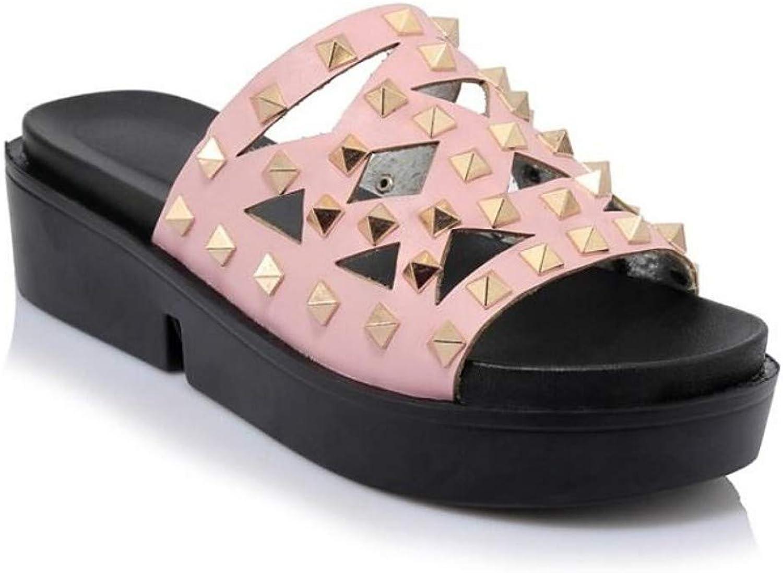 ZHZNVX Women's PU Summer Sandals Flat Heel White Black Pink