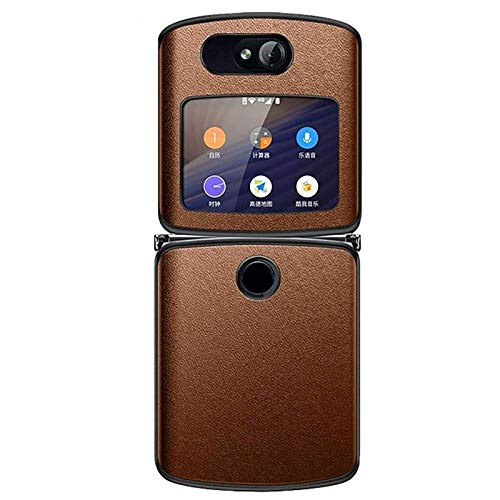 NUOBUGYB For Motorola Razr 2020 Case,for Motorola Razr 5g Genuine Vegan Leather Hybrid Hard Pc Case Cover 2020,anti Water,oil,fingerprint Brown