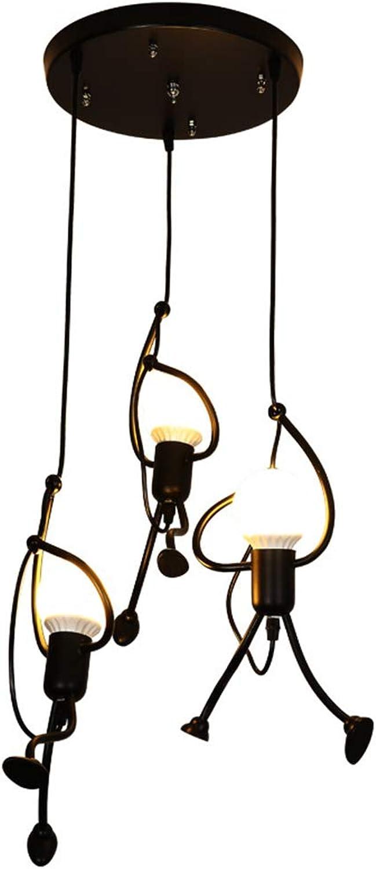 H-deng Nordic Schmiedeeisen Pendelleuchte Hhenverstellbare LED Kronleuchter Retro-Kreativ Hngelampe Für Kücheninsel Esszimmer Wohnzimmer Bar Schwarz (Ohne Leuchtmittel),3headA