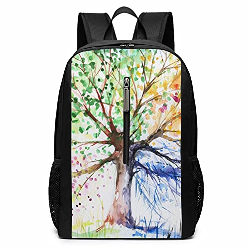 NiYoung School Picnic Bicycle Backpack Daypack Durable Polyester Anti-Theft Multipurpose Backpack Big Capacity Shoulder Bag, Colorful Tree of Life White