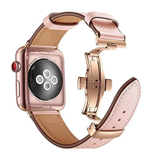 Arkrdiif Correa compatible con Apple Watch 44 mm 42 mm Series 6/SE/5/4/3/2/1, correa de piel de repuesto con cierre de metal compatible para Apple Watch (38 mm/40 mm, rosa)
