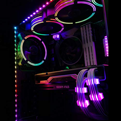 EZDIY-FAB 120mm Case Fan with Auto Rainbow LED Streamer Effect for Computer Cooling,CPU Cooler-3 Pack