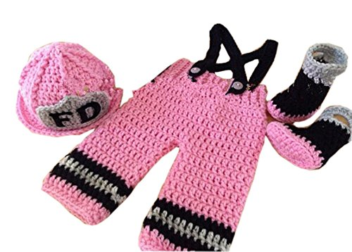 Pinbo Newborn Baby Girls Photography Prop Crochet Fireman Hat Pants Shoes