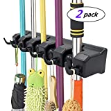 IMILLET Mop and Broom Holder, Wall Mounted Organizer Mop and Broom Storage Tool Rack with 5 Ball Slots and 6 Hooks (Black) (Double Pack)