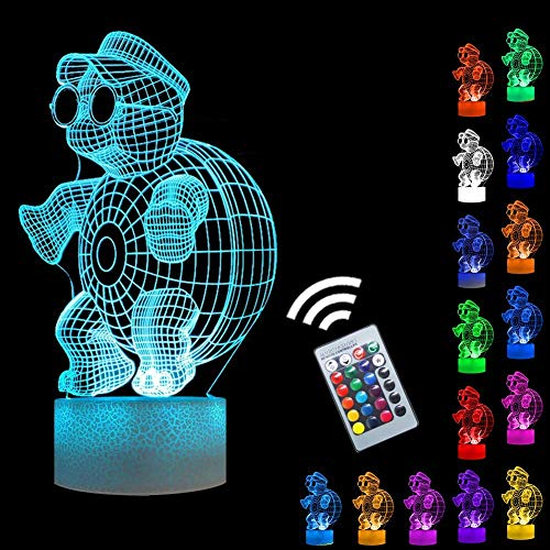 Kühle Schildkröte Nachtlichter 3D Vision Effekt LED Lampen Fernbedienung & 16 Farben Ändern Nachttisch Licht Kreative Party Geschenkideen für Festival Bday Events Beedroom Decor Wandleuchte
