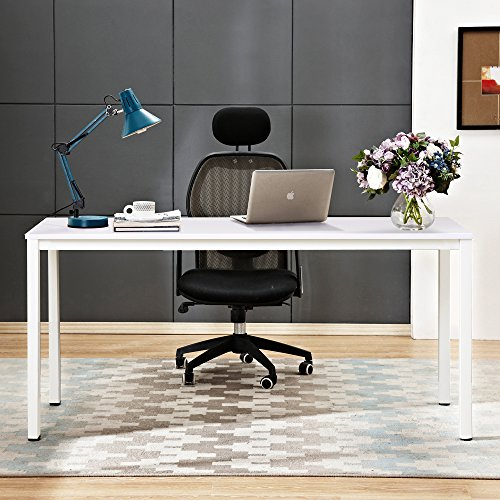 sogesfurniture Escritorios Mesa de Ordenador 160x60cm Grande Escritorios para Computadora Escritorio de Oficina Mesa de Estudio Mesa de Trabajo de Madera y Acero, Blanco BHEU-AC3DW-160