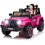 IKON MOTORSPORTS 12V Electric Ride On Car w/ Remote Control for Kids, Spring Suspension, LED Light, Openable Doors, Music Player - Pink