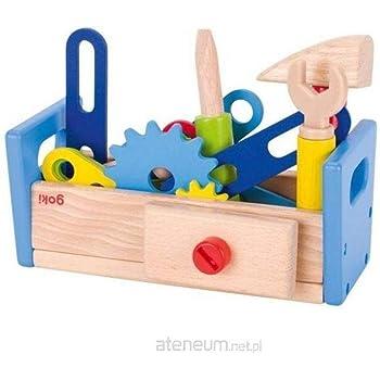 Goki Kinder Werkbank Werkzeugkiste aus Holz 16 teilig, 27,5