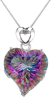Heart Necklace For Women Rainbow Colorful Jewelry Women Pendant Fire Mystic Topaz Christmas Gifts Chain Necklace 18 Inch