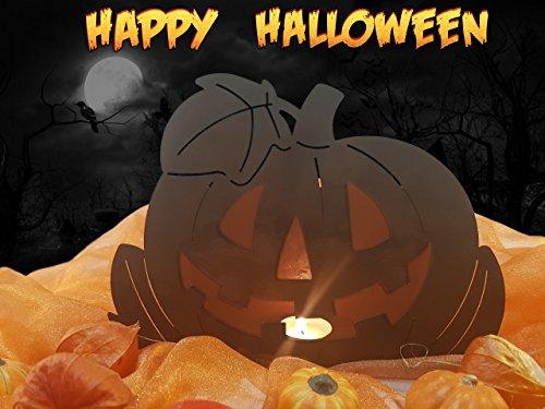 Edelrost Halloween Kürbis mit Windschutz 2teilig 19cm, mit Kerzen beleuchtbarer Kürbis. Ideal für Ihren Hauseingang, Terrasse oder Wohnung - Halloween deko von Manufakt-Design