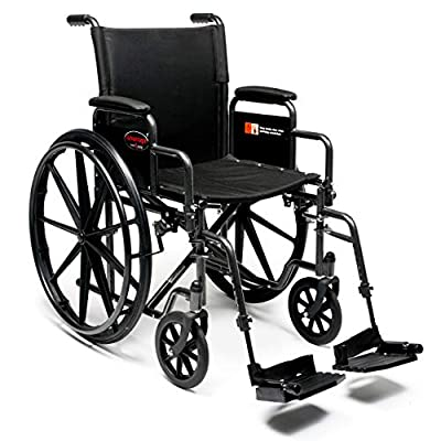 "Everest & Jennings Advantage LX Wheelchair, Detachable Desk Arms & Swingaway Footrests, 18"" Seat, Silvervein Color"