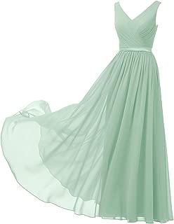 V-Neck Chiffon Bridesmaid Dress Long Party Evening Formal Gown Sleeveless