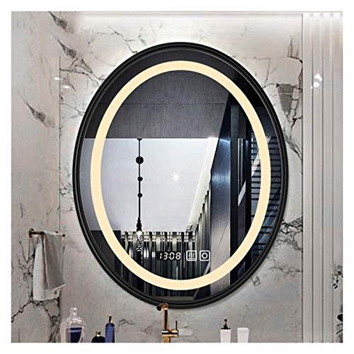 AWCPP Espejo de Pared, Óvalo Cuelga el Espejo de Vanidad Iluminada Led,Marco Negro Cálido Luz,53 * 68Cm