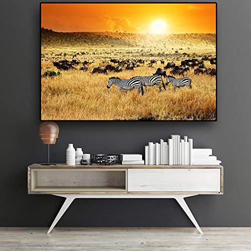 tzxdbh African Zebra Sunset olieverfschilderij op canvas abstracte landschapsposters en prints Scandinavische kunst wandschilderij voor woonkamer 30x45cm no frame Pa1105