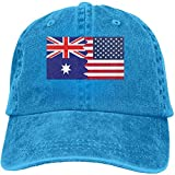 Bikofhd Men's/Women's Vintage Jeans Baseball Hat Adjustable Strap Low Profile Australian American Flag Plain Cap Style4006
