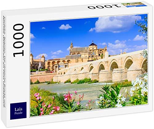 Puzzle Córdoba, España. El Puente Romano y la Mezquita (Catedral) sobre el río Guadalquivir. 1000 Piezas