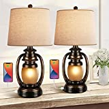 Farmhouse Bedside Table Lamps for Living Room Set of 2 Oatmeal Tapered Drum Shade Rustic Bedroom Nightstand Lamps with 2 USB Port and Outlet