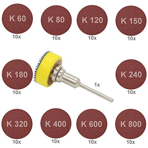 Schleifteller Schleifpapier 25mm Dremel K 60 80 120 150 180 240 320 400 500 600 800 900 (Set: 1x Schleifteller + 100x Schleifpapier)